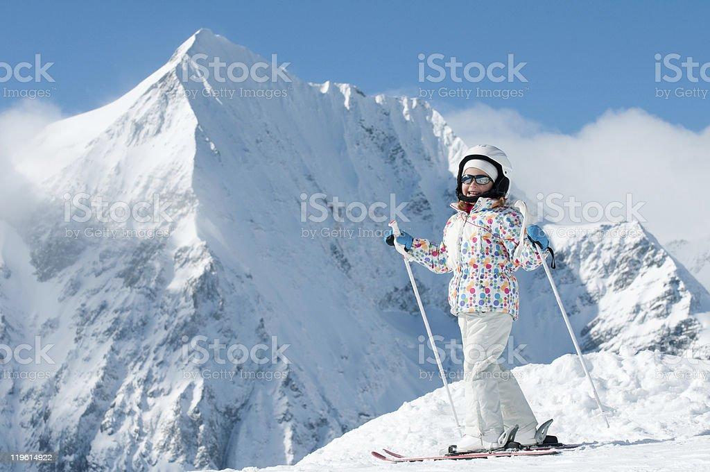 Happy little skier royalty-free stock photo