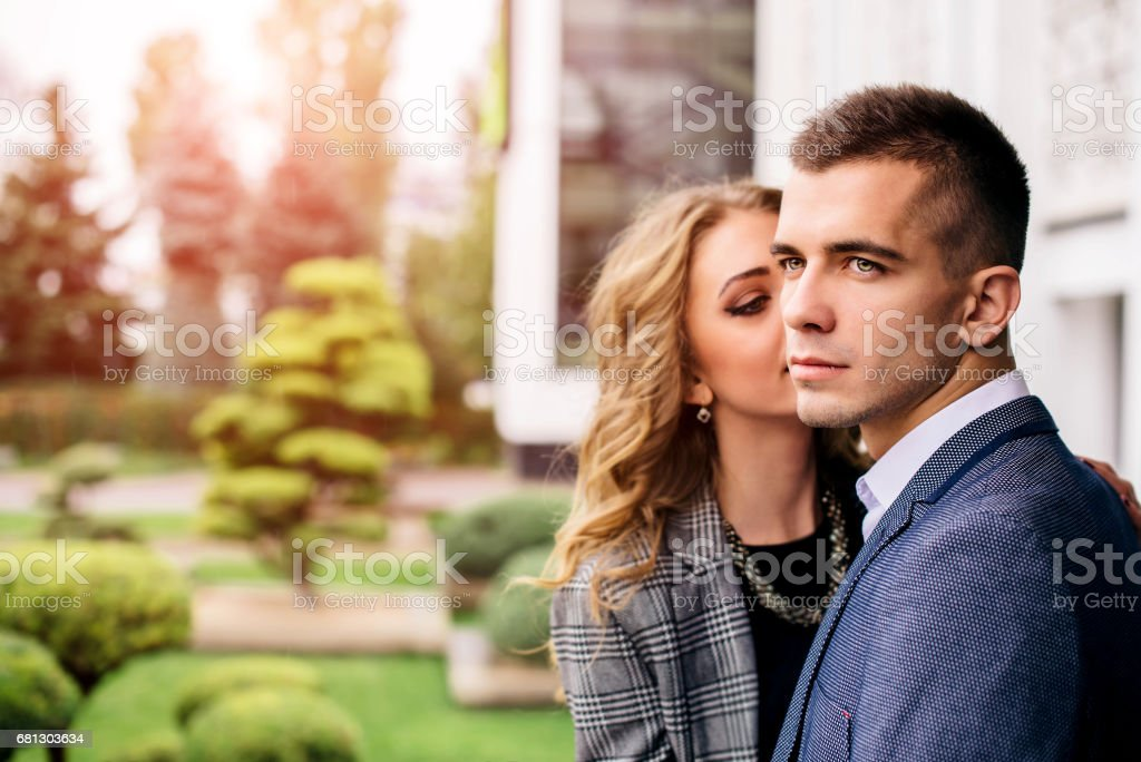 Happy lovely young couple outdoor royalty-free stock photo