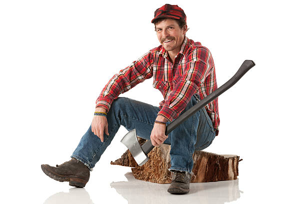 Happy lumberjack sitting on a log with an axe Happy lumberjack sitting on a log with an axehttp://www.twodozendesign.info/i/1.png lumberjack stock pictures, royalty-free photos & images