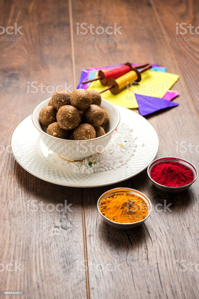 happy Makar Sankranti Festival greeting card stock photo