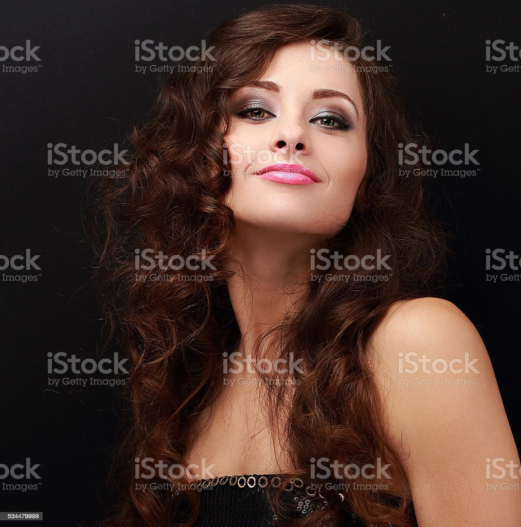 Happy makeup woman with bright makeup. Closeup portrait stock photo