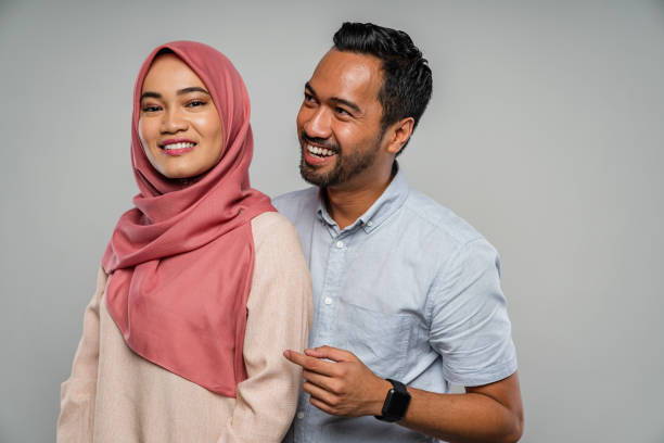 Happy Malaysian Couple Together Portrait stock photo