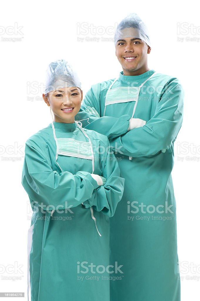 happy male and female medical professionals stock photo