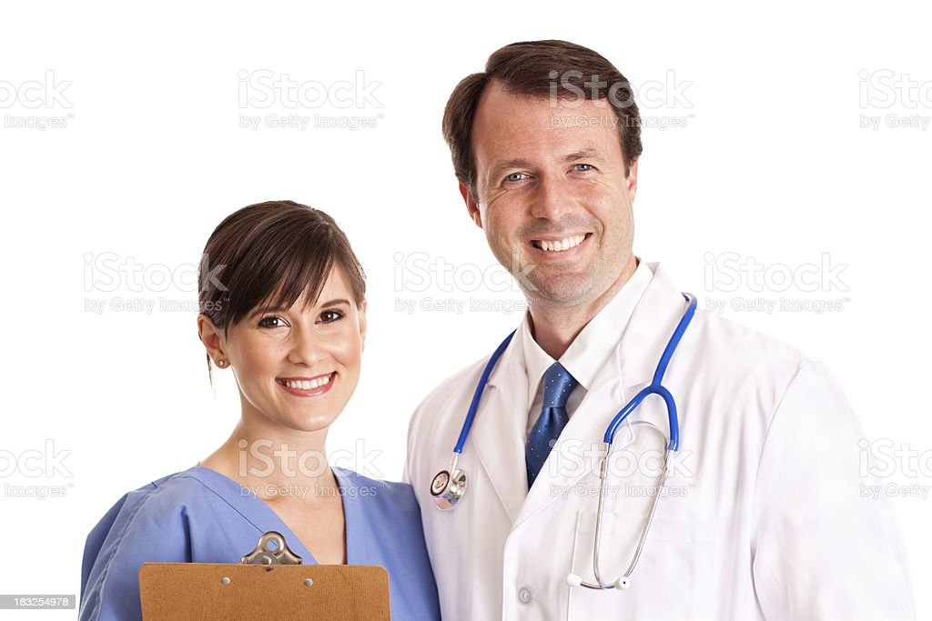 Happy Male Doctor and Female Nurse Isolated on White royalty-free stock photo