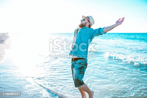 Happy Male Enjoying Vacation
