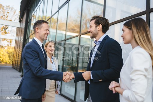 Happy male executives meeting and handshaking on the street