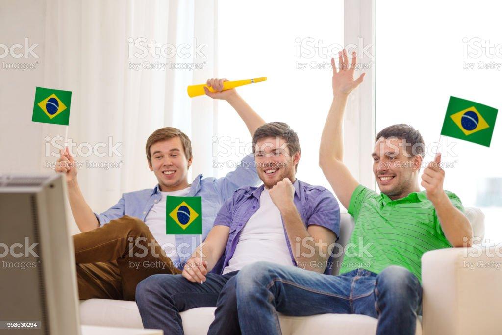 felizes amigos homens com bandeiras e vuvuzela - foto de acervo