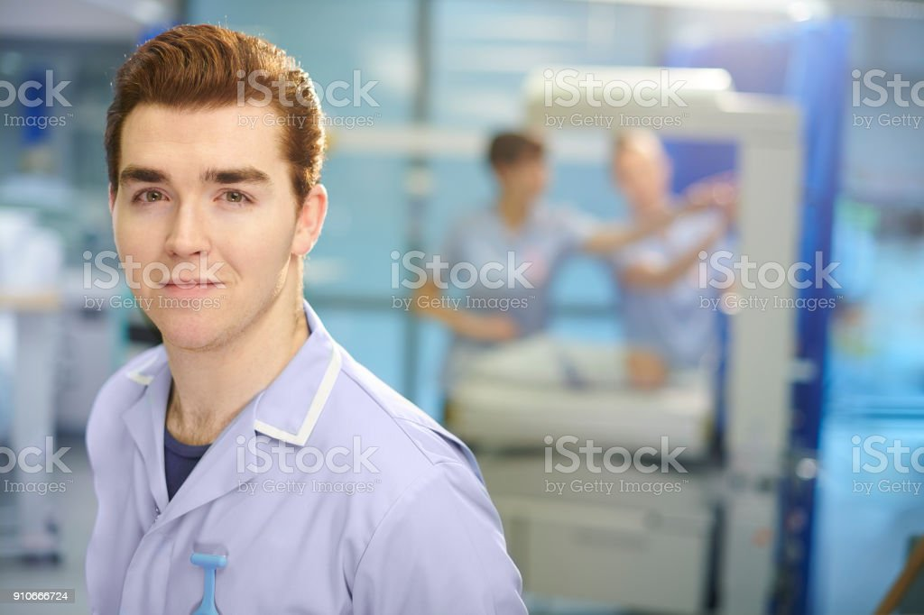 happy male midwife stock photo