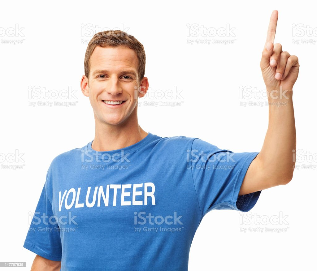 Happy Male Volunteer - Isolated royalty-free stock photo