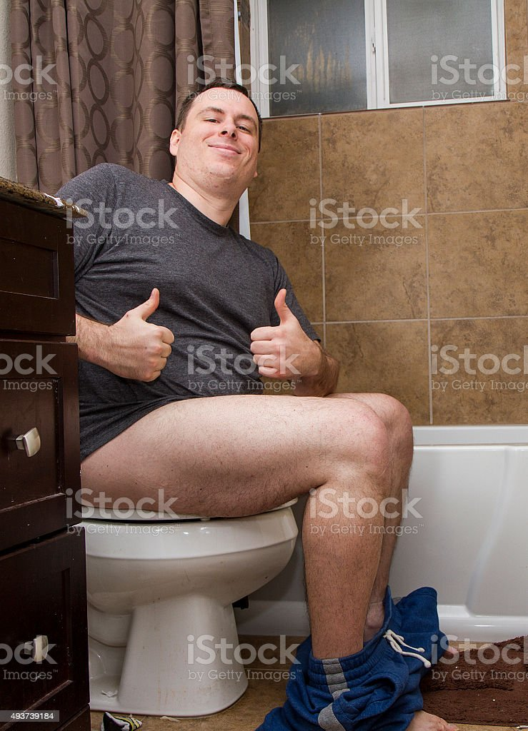 Happy man at a job well done. stock photo