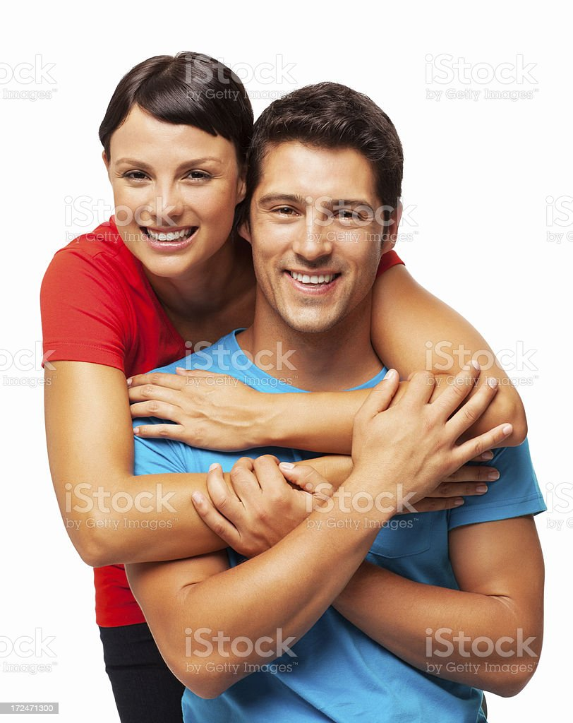 Happy Man Being Embraced By Girlfriend - Isolated royalty-free stock photo