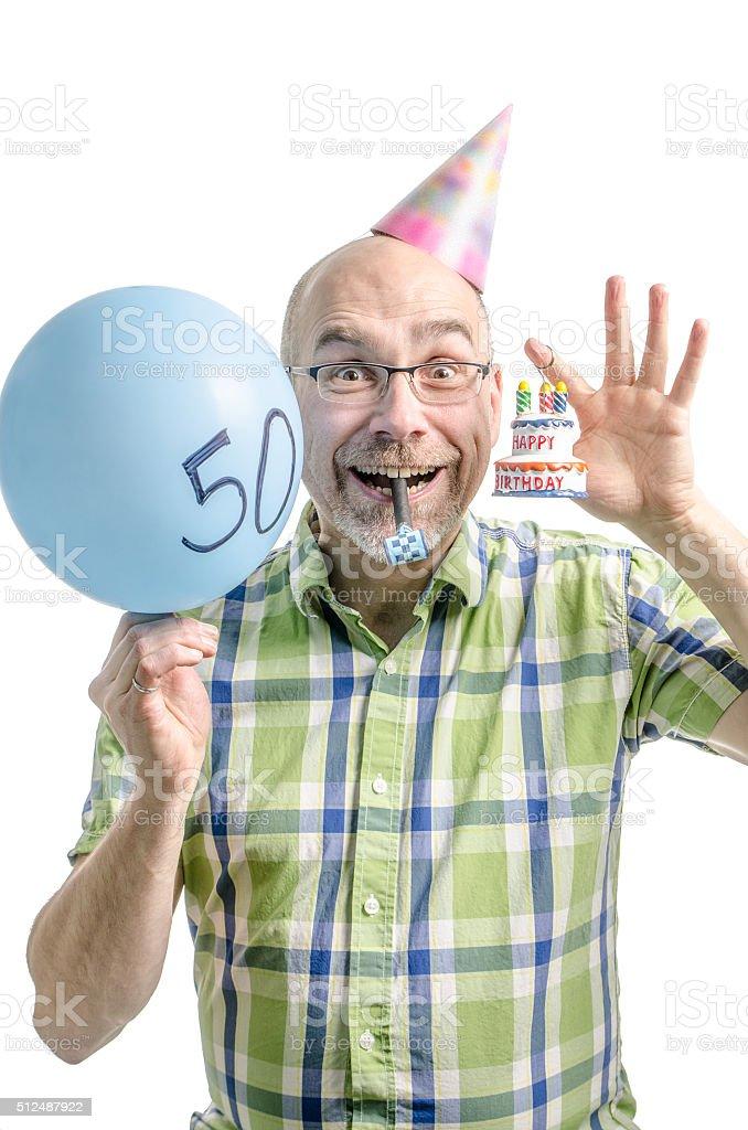Glücklicher Mann Feiert Sein 50 Jahre Geburtstag Lizenzfreies Stock Foto