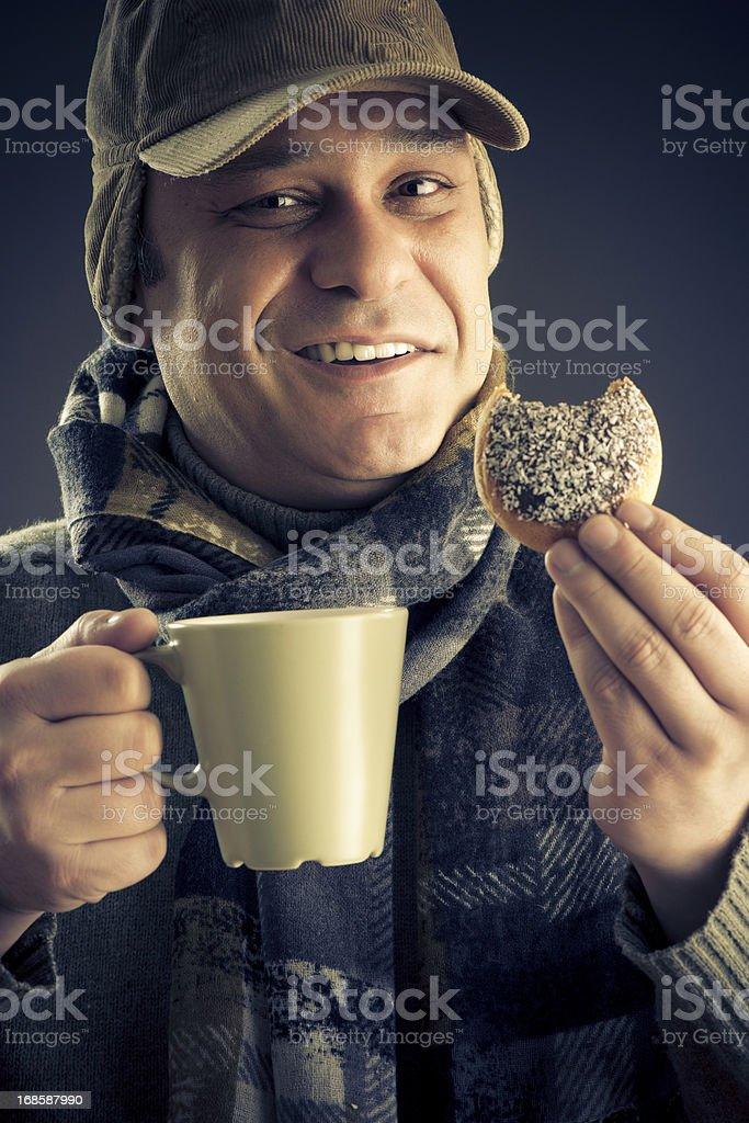 Happy Man Coffee and Donut royalty-free stock photo