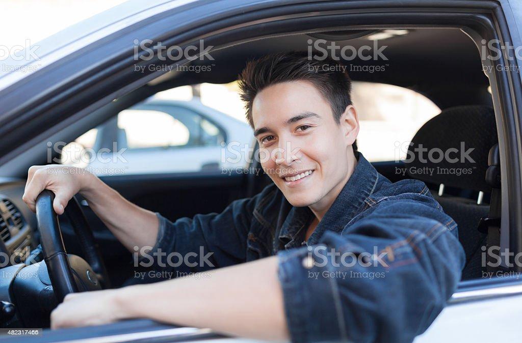 Happy man driver stock photo