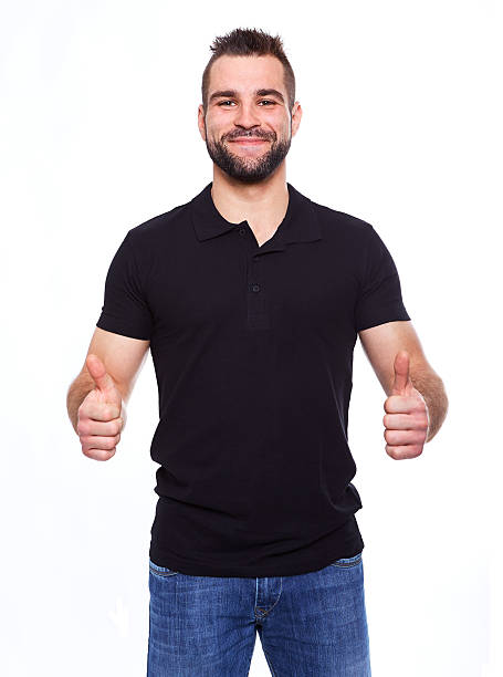 Happy man giving with both hands the thumbs up sign stock photo