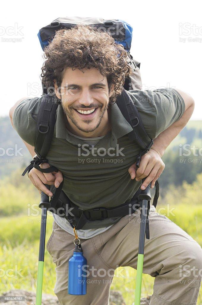 Happy Man Hiking Outdoor stock photo