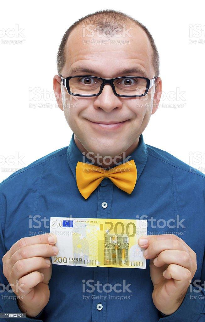 Hombre feliz con 200 euros - foto de stock