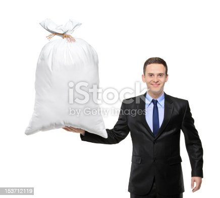 istock Happy man holding a bag with money 153712119