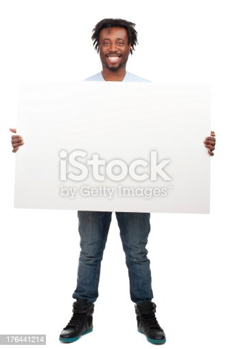 istock Happy man holding a blank billboard 176441214