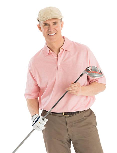 glücklicher mann hält golf club vor weißem hintergrund - schiebermütze stock-fotos und bilder