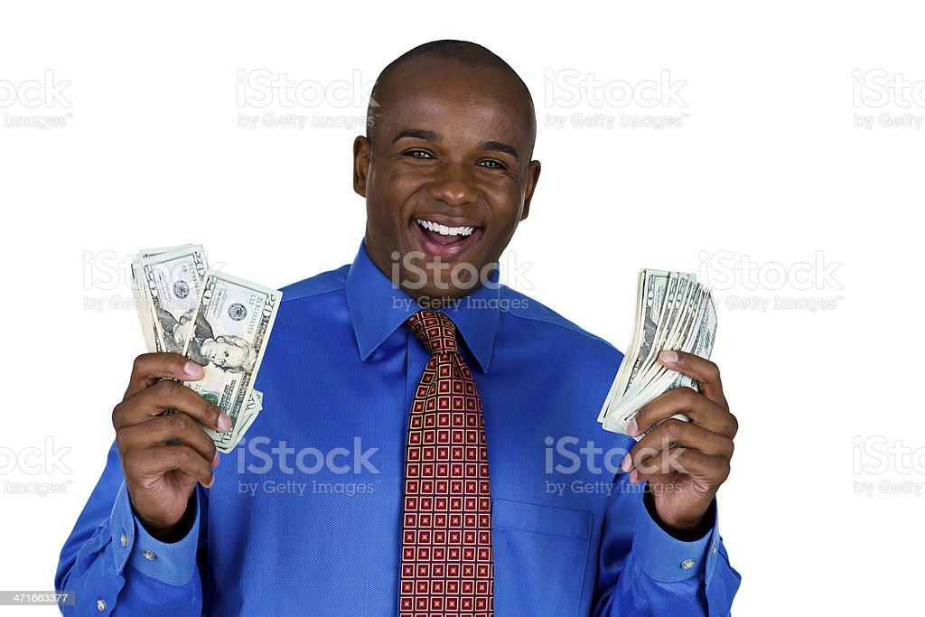 Happy man holding money royalty-free stock photo