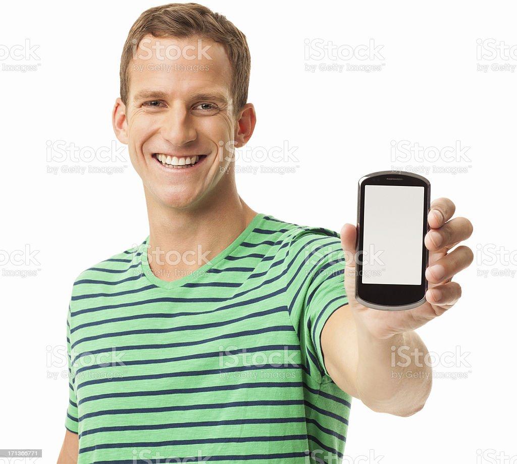 Happy Man Holding Smart Phone - Isolated stock photo