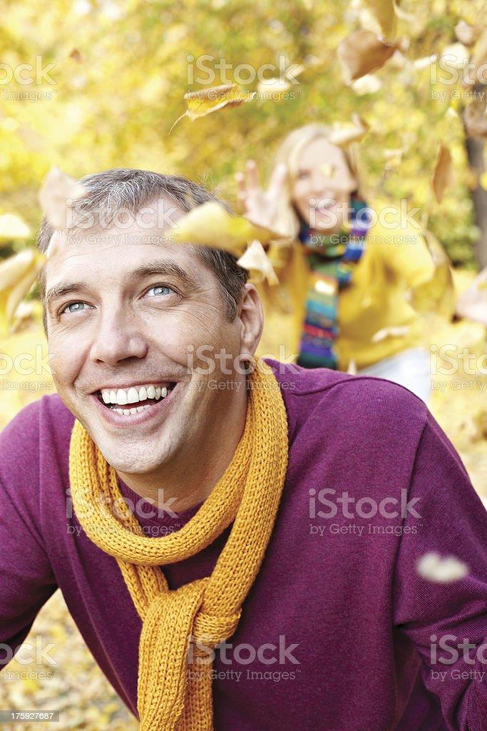 Happy man in autumn royalty-free stock photo