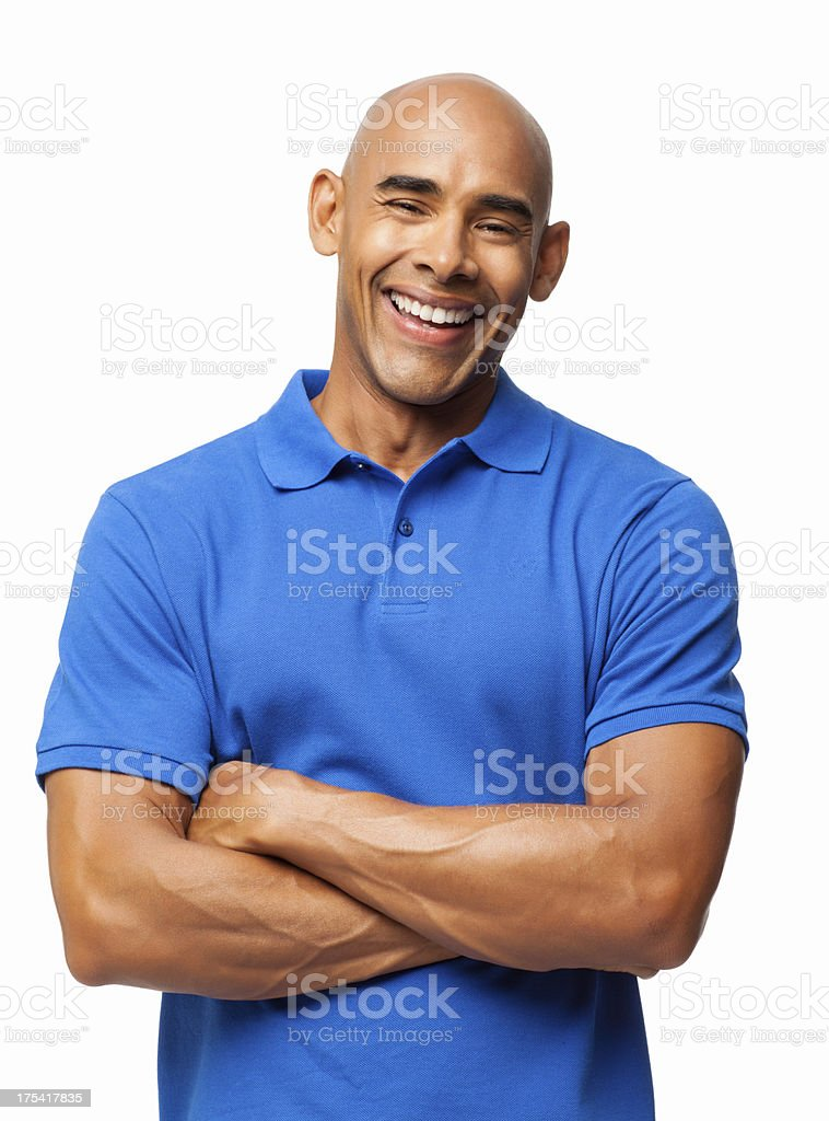Happy Man In Casual Blue T-shirt - Isolated stock photo