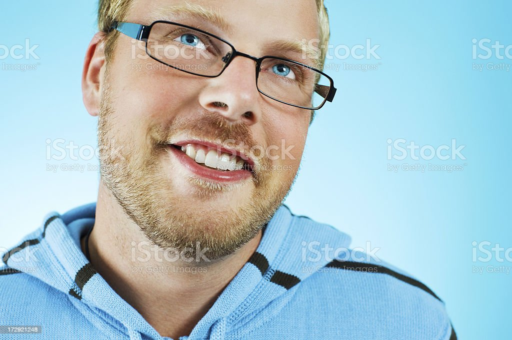 Happy man in glasses royalty-free stock photo