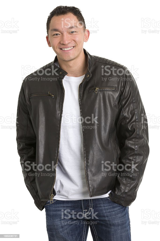 Happy Man in Leather Jacket Posing royalty-free stock photo