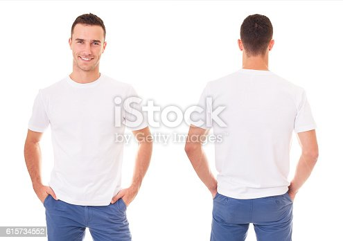 istock Happy man in white t-shirt 615734552