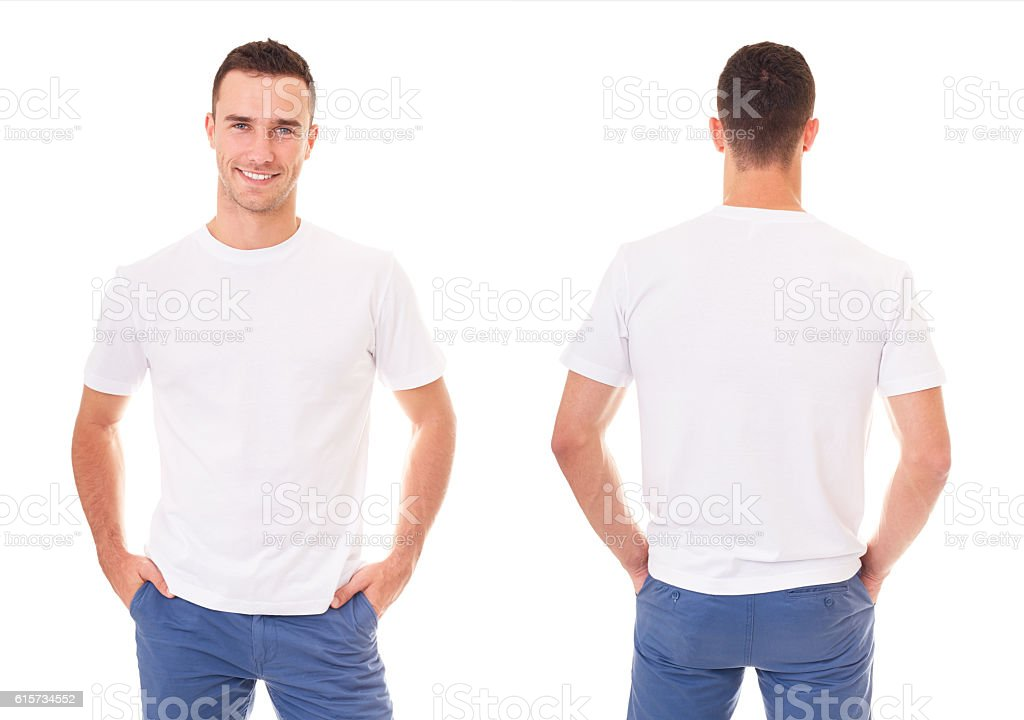 Happy man in white t-shirt - foto de stock
