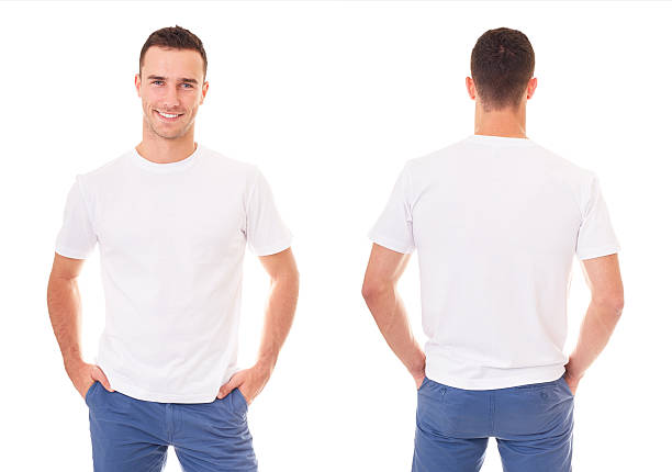 happy man in white t-shirt - rear view stock photos and pictures