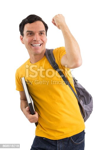 istock Happy man is celebrating. Happy student. He's on his feet. Isolated on white background.