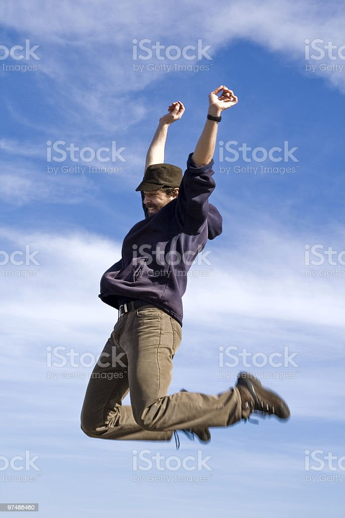 Happy man jumping royalty-free stock photo