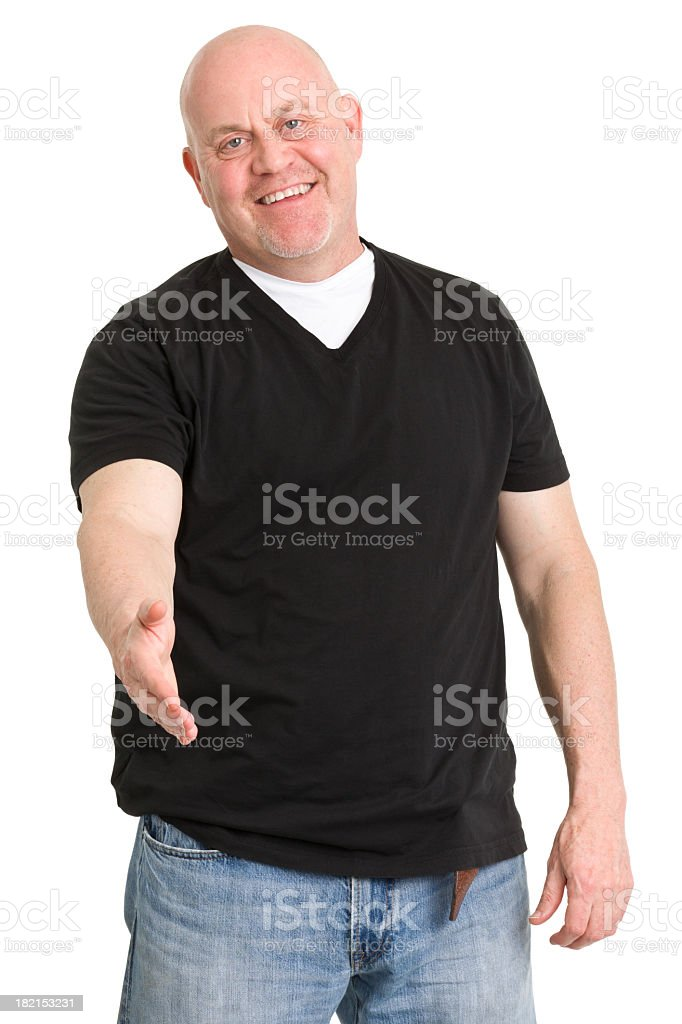 Happy Man Offers Handshake stock photo