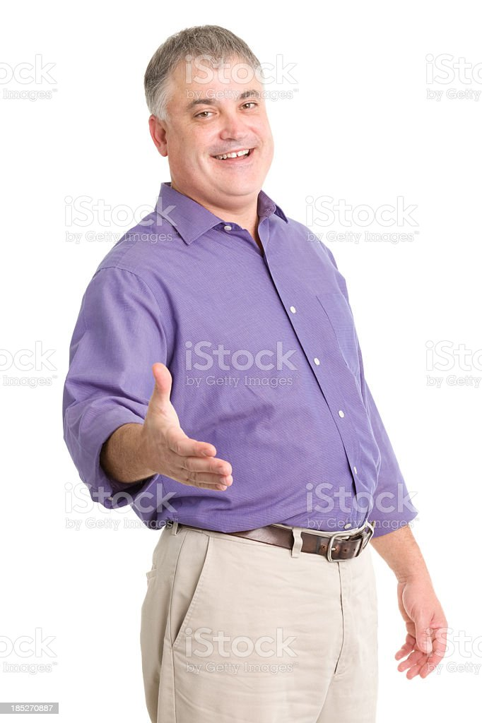 Happy Man Offers Handshake royalty-free stock photo
