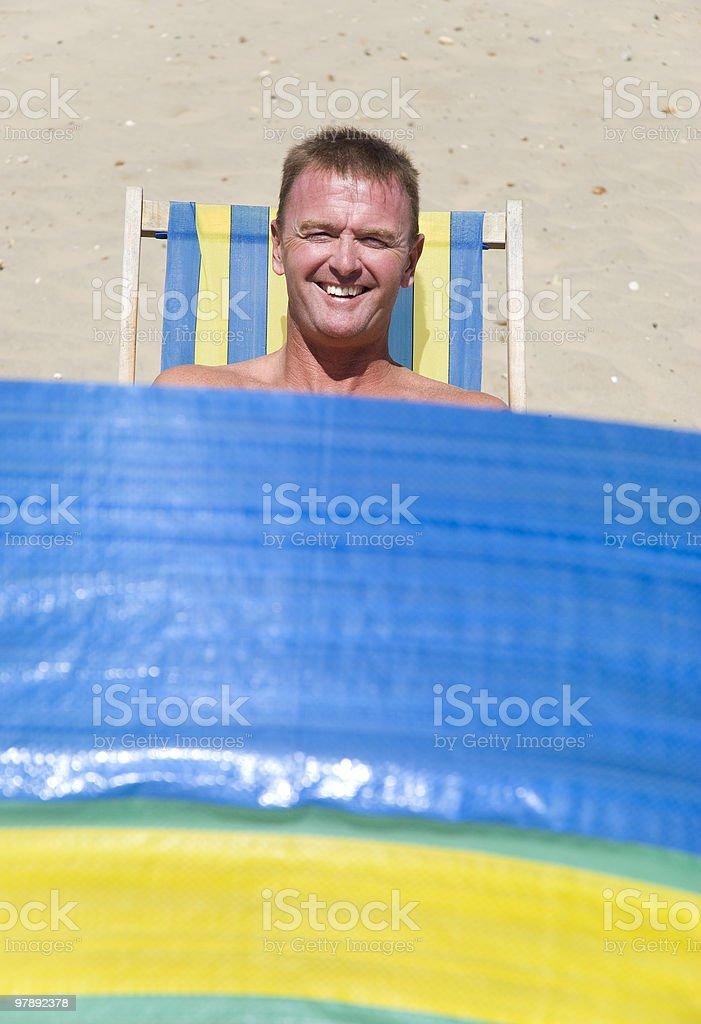 happy man on beach. royalty-free stock photo