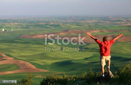 istock Happy Man on the Prairie 157477978