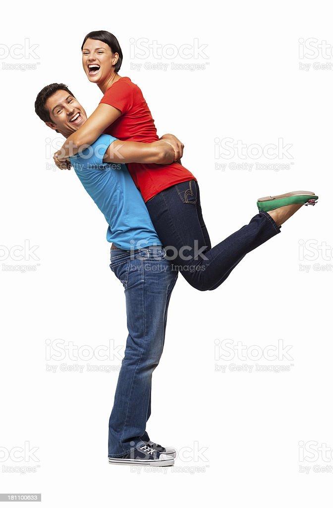 Glücklicher Mann pflücken seine Freundin-isoliert bis – Foto