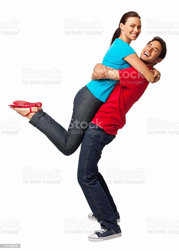 Happy Man Picking Up Girlfriend - Isolated stock photo