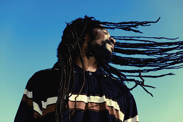 "happy man Happy man with ""windy"" dreadlocks. Caribbeans. rastafarian stock pictures, royalty-free photos & images"