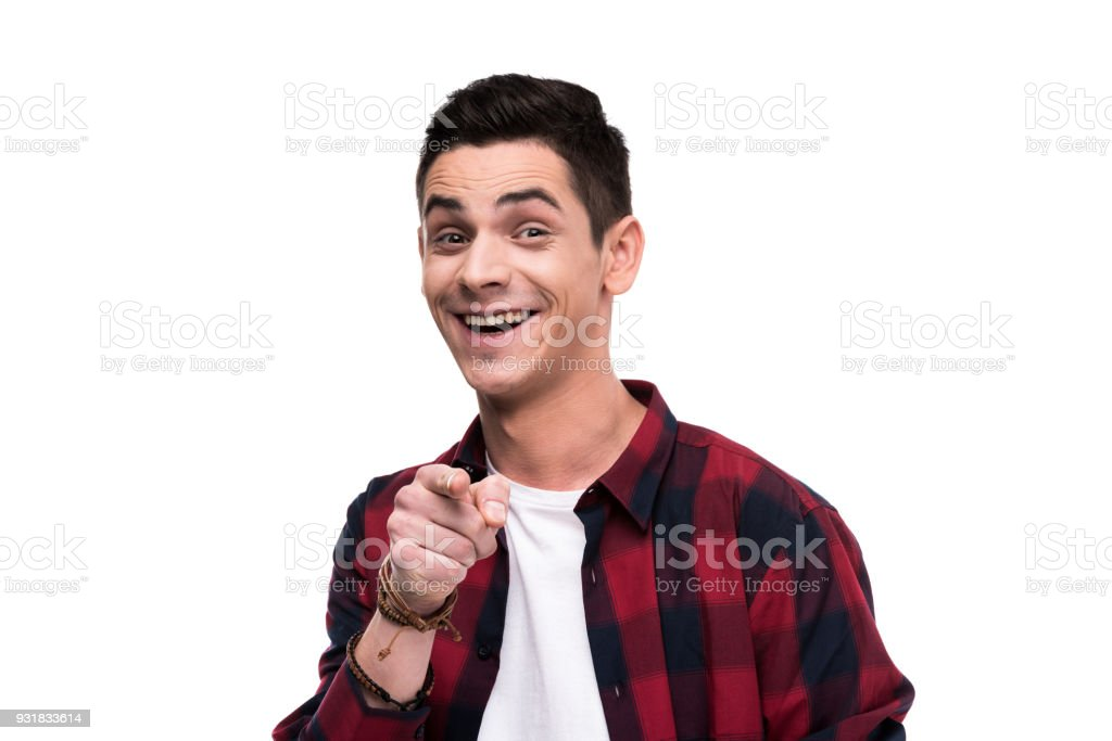 happy man pointing on camera isolated on white stock photo