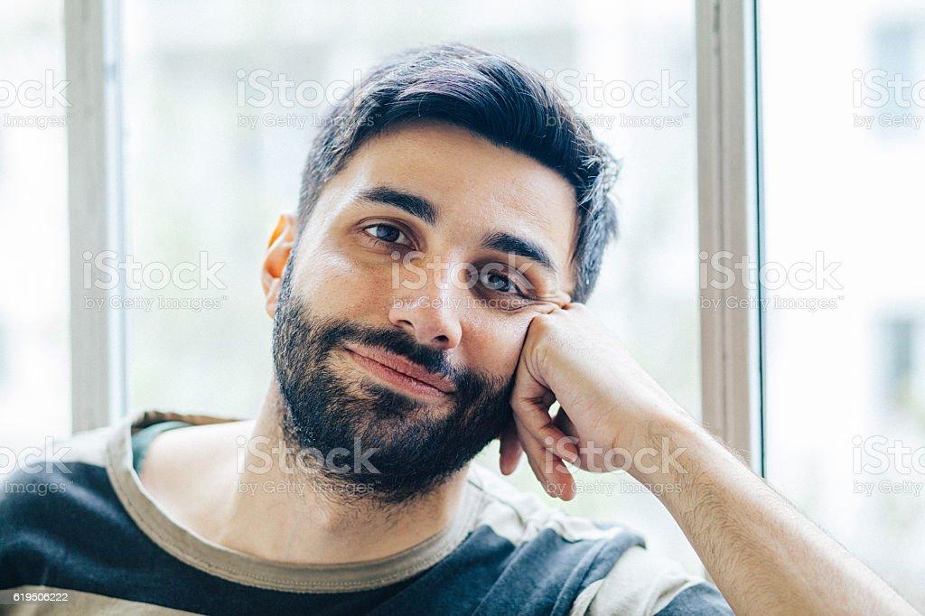 Happy man portrait stock photo