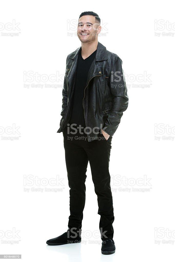 Happy man posing stock photo