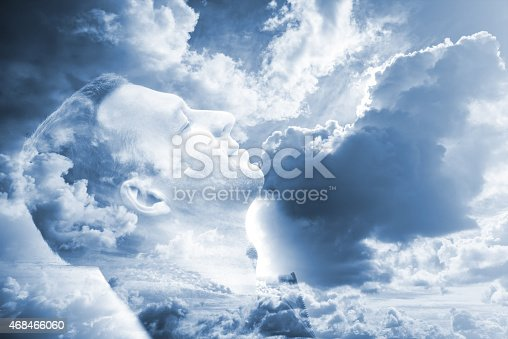 istock Happy man profile portrait and bright blue cloudy sky 468466060