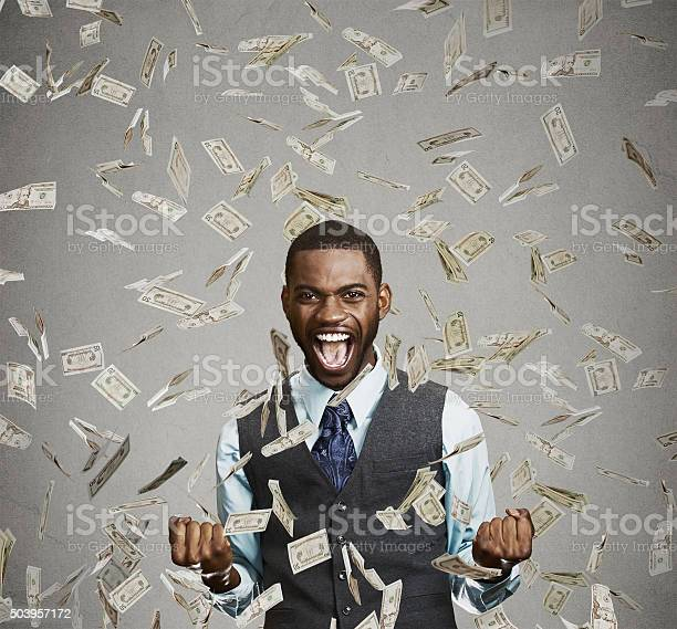 Happy man pumping fists celebrates success under money rain picture id503957172?b=1&k=6&m=503957172&s=612x612&h=bdqigiwiw4tyoe7ik493albueyoz fyyu9yfcj pbp4=