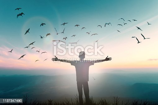 istock Happy man rise hand on morning view. Christian inspire praise God on good friday background. Now one man self confidence on peak open arms enjoying nature the sun concept world wisdom fun hope 1137347490