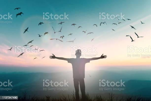 Happy man rise hand on morning view christian inspire praise god on picture id1137347490?b=1&k=6&m=1137347490&s=612x612&h=sqtixm0vgtuv n4wjktqnqs xjanonhlbsltlvtkg3c=