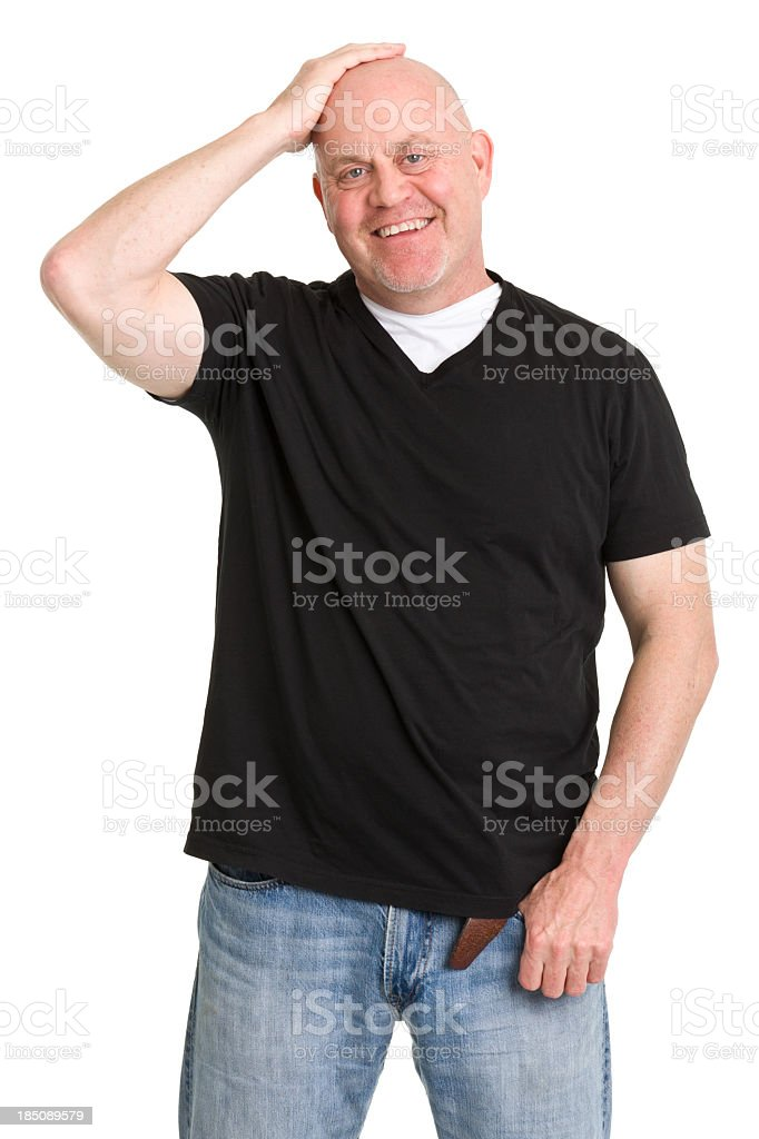 Happy Man Rubs Head stock photo